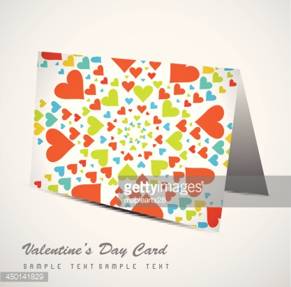 Valentine's Day colorful hearts marriage card set vector