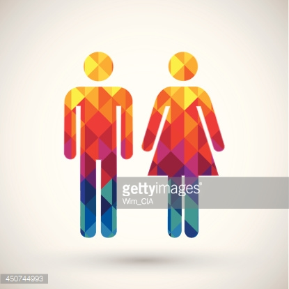 man & woman restroom sign with colorful diamond