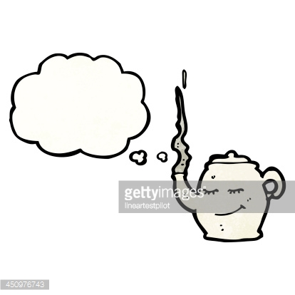 teapot with thought bubble cartoon