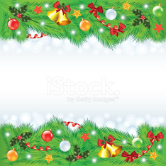 Christmas frame with decorated fir-trees