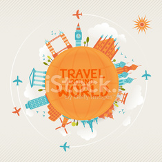 vector illustration of travel famous monuments around world