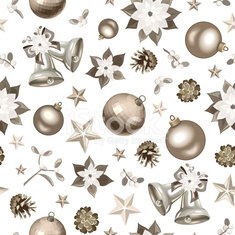 Christmas seamless silver background. Vector illustration.