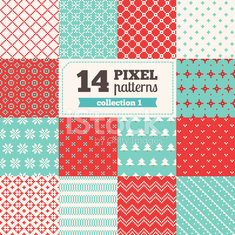 Set of pixel patterns - Christmas
