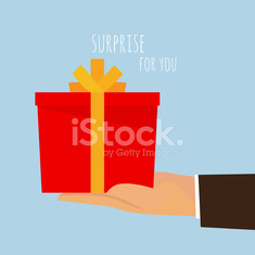 Hand holding out an empty gift box ready for you.