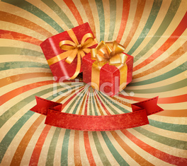 Retro holiday background with red gift ribbon and boxes.