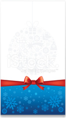 christmas greeting card with decoration ball and red ribbon