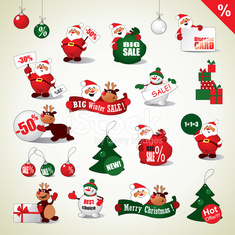 Set of Christmas stickers and Sale icons