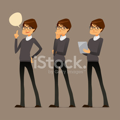 cute cartoon guy with glasses, in various poses
