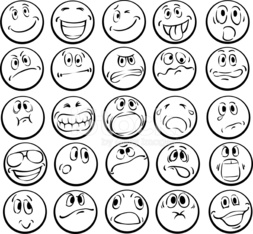 Coloring Book Of Emotional Faces Stock Photos Vectorhq Com