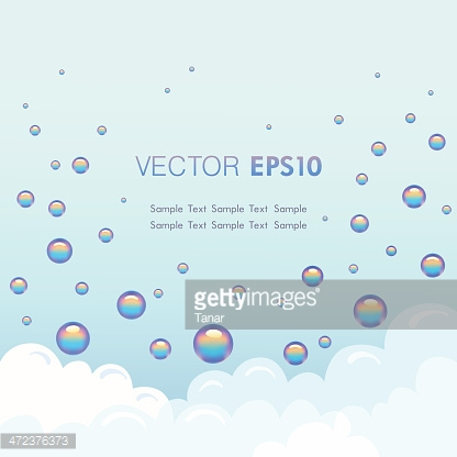 Background template with foam and soap bubbles