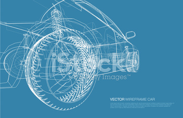 Wire frame car concept blueprint illustration