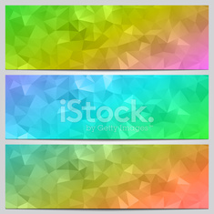 Vector set of multicolor banners with abstract geometry