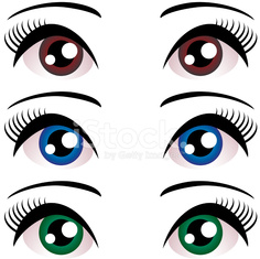 set Women eyes with long eyelashes. Blue, brown, green. Vector