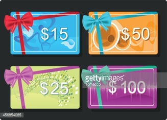 Gift Cards with Color Bow $15 $25 $50 $100