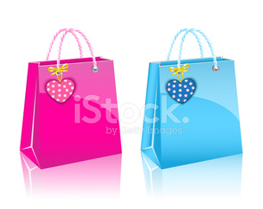 two Valentines day rore paper shopping bag