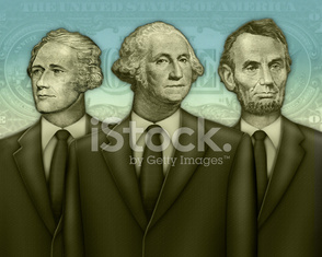 Group Portrait of Washington, Lincoln, and Hamilton as Financial