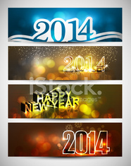 New year 2014 bright colorful four headers and banners