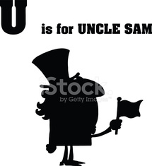 Silhouette Alphabet - U is for Uncle Sam With Text