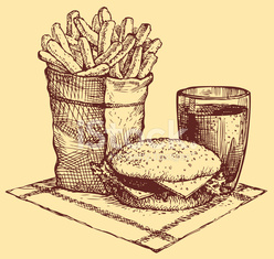 Vector fast food. French fries, burger and a Coke