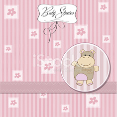 childish baby girl announcement card with hippo toy
