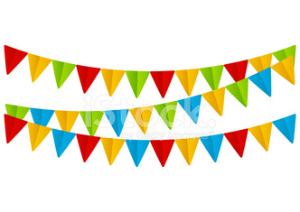 Color paper flags on white