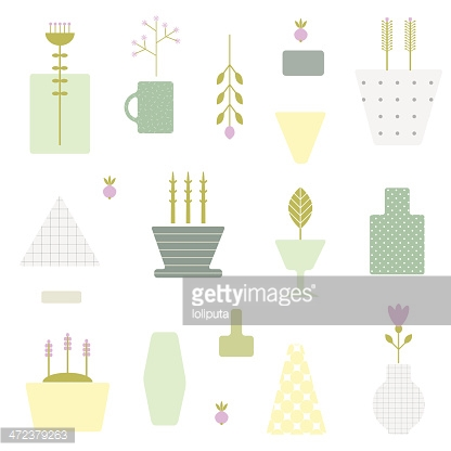 Abstract seamless pattern with flower pots in vector