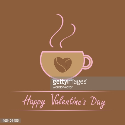 Cup with coffee seeds heart. Happy Valentines Day card.