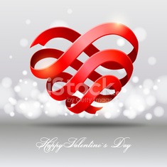 Heart from red ribbon. Valentine's Day.