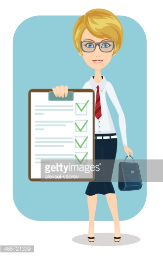 Business woman with a document.