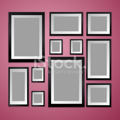 Wall with empty Picture Frame. Vector