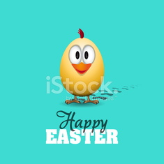 Funny Easter egg chick - background illustration Happy card