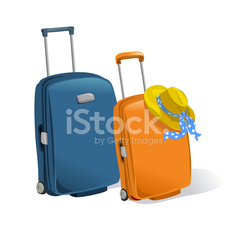 two suitcases isolated