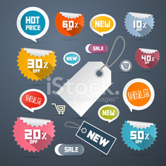 Paper Discount Labels, Tags Illustration