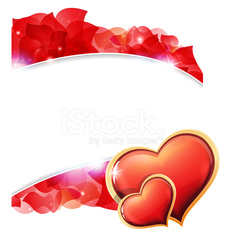 Red Valentines hearts and  petals