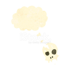 retro cartoon skull with thought bubble