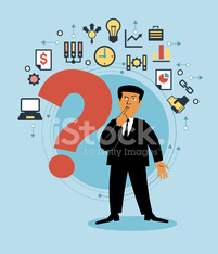 Cartoon man with a Question-mark and business icons.