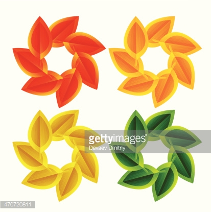 Vector autumn leaves in a circle