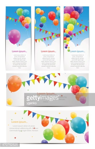 Various colorful glossy balloon banners on white
