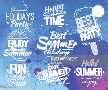 Summer set in retro style blue watercolor background.
