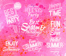 Summer set in retro style pink watercolor background.