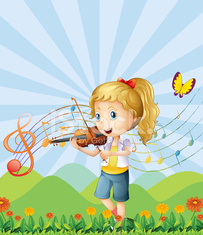 girl at the hilltop playing with her violin