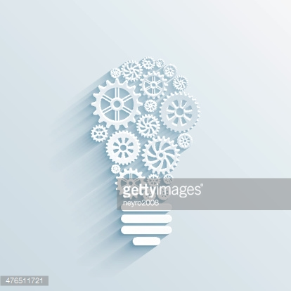 paper light bulb with gears and cogs
