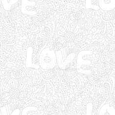 Vector seamless love texture with abstract flowers