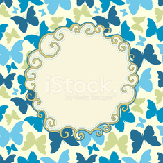 Seamless pattern with silhouette butterflies and frame for text