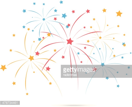 Fireworks with star on white background