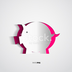 Papercut pig cutted from paper - vector card