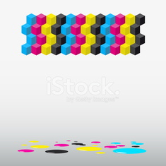 Cubes background - vector illustration Cyan, magenta, yellow,