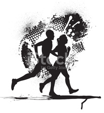 Interracial Couple Jogging with Grunge Background