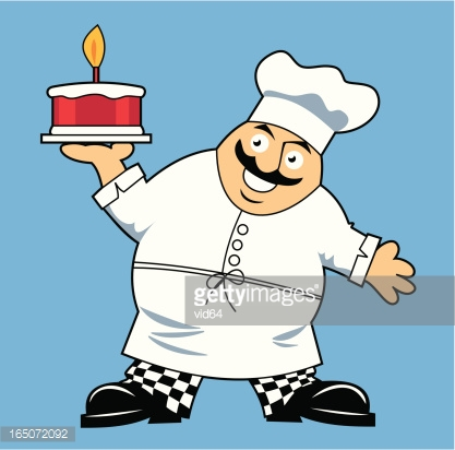 Fat Chef WIth Cake
