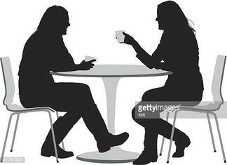 Two female friends having coffee